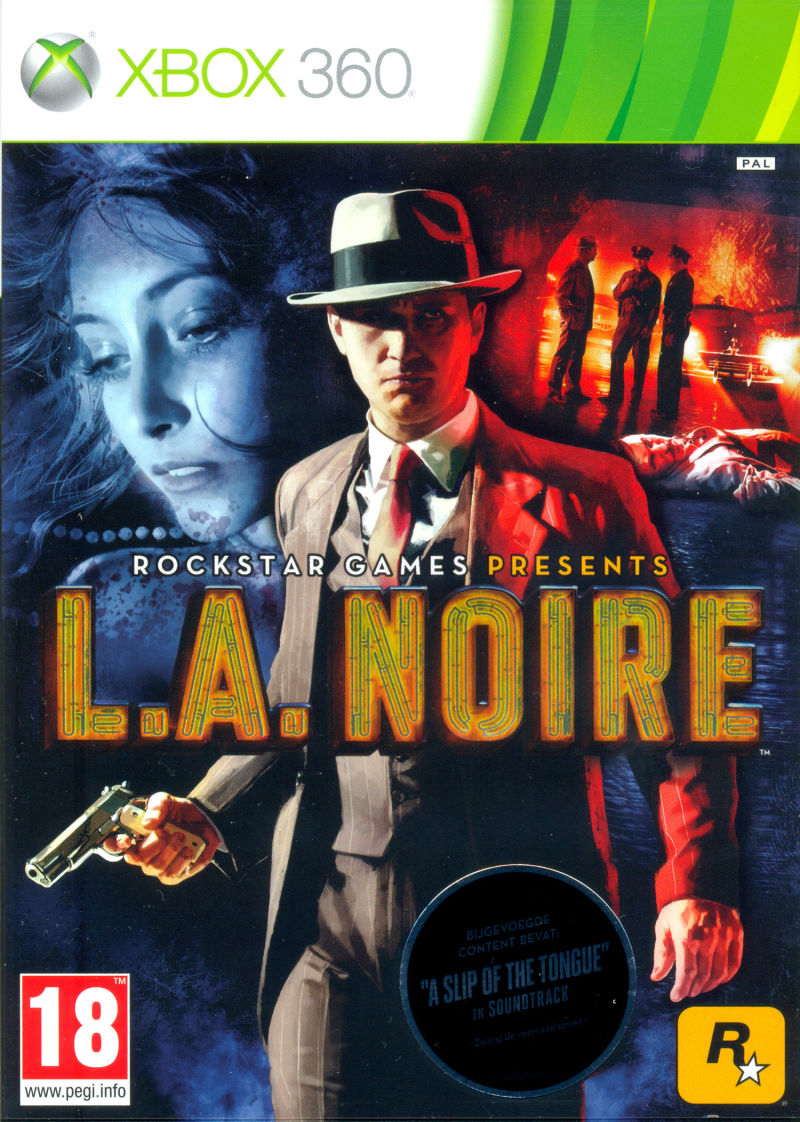 L.A. Noire Xbox 360 Front Cover through plastic, with sticker