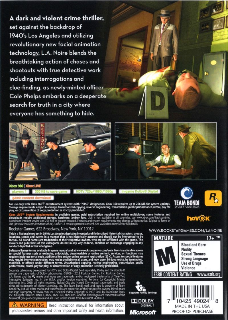Xbox 360 Game Cover Back L.A. Noire (2011) Xbox...