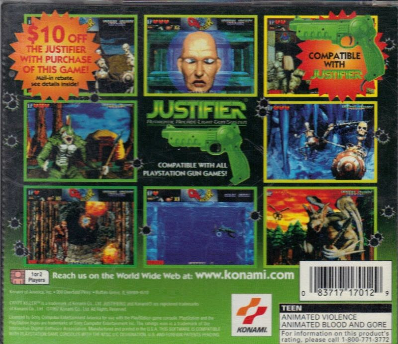 Crypt Killer PlayStation Back Cover