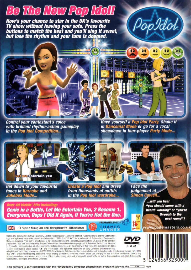 American Idol PlayStation 2 Back Cover