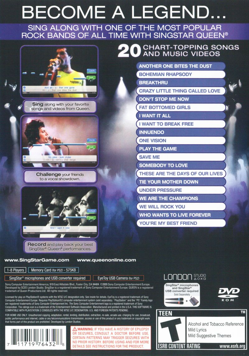 Singstar Queen 2009 Playstation 2 Box Cover Art Mobygames