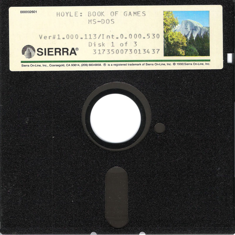 "Hoyle: Official Book of Games - Volume 1 DOS Media 5.25"" Disk 1/3"