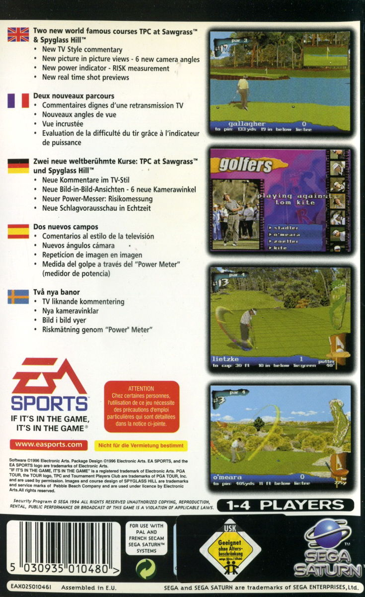 PGA Tour 97 SEGA Saturn Back Cover