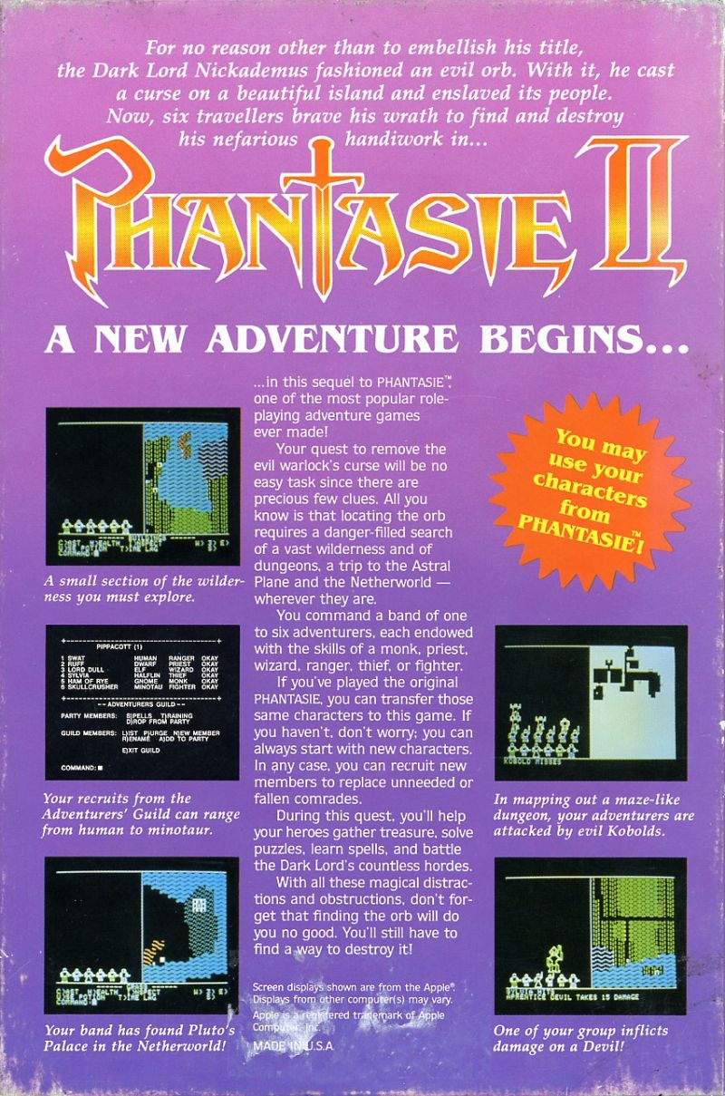 Phantasie II Atari ST Back Cover