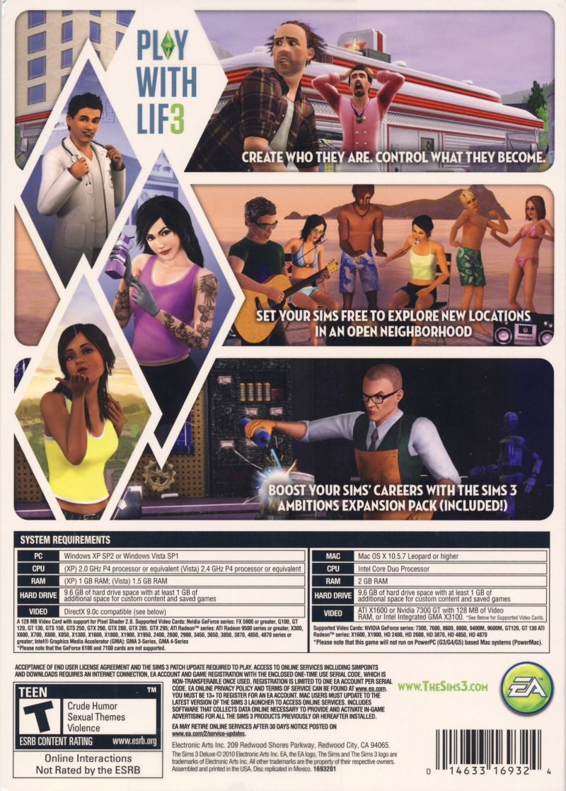 The Sims 3 Deluxe Macintosh Back Cover