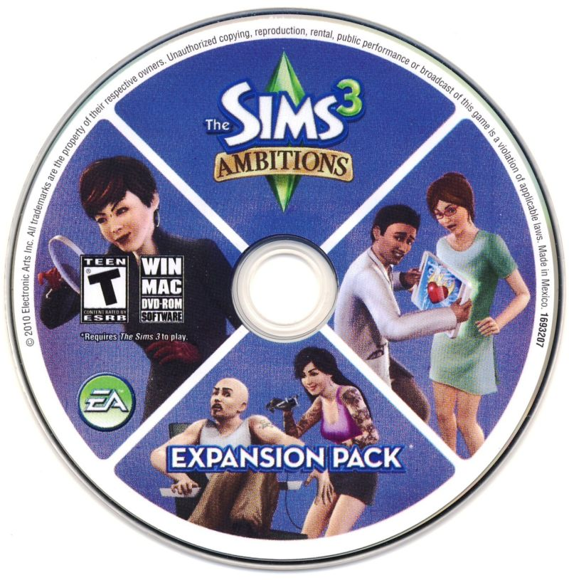 The Sims 3 Deluxe Macintosh Media Sims 3 Ambitions Disc