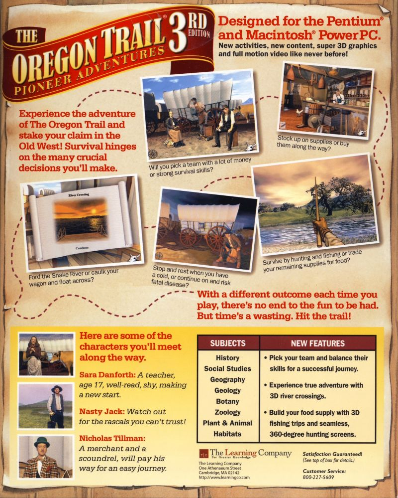 The Oregon Trail: 3rd Edition Macintosh Back Cover