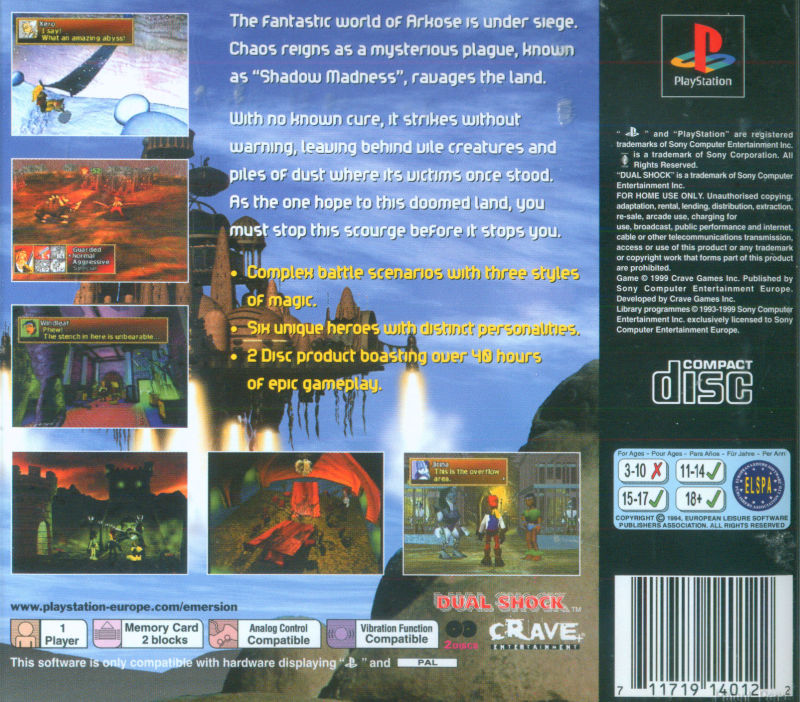 Shadow Madness PlayStation Back Cover