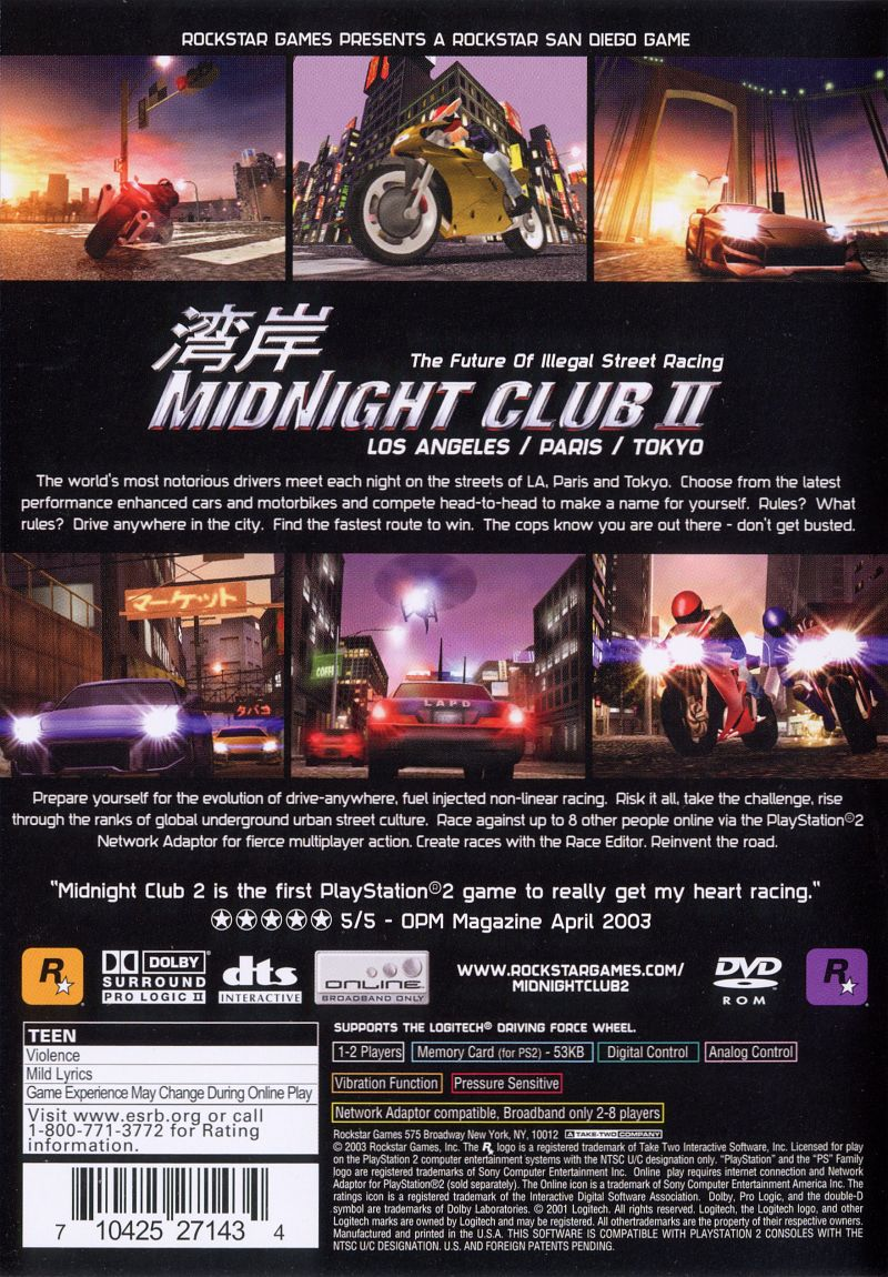 Midnight Club II PlayStation 2 Back Cover