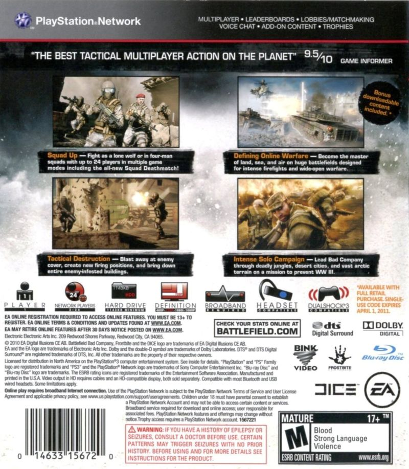 new style d347c 15170 Battlefield: Bad Company 2 (2010) PlayStation 3 box cover art ...