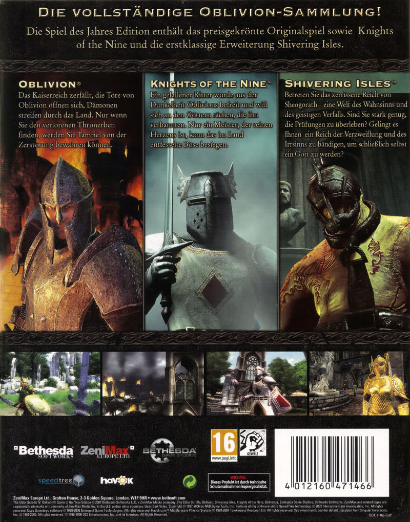 The Elder Scrolls IV: Oblivion (Game of the Year Edition) Windows Back Cover