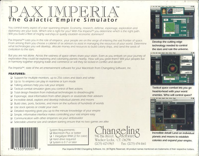 Pax Imperia Macintosh Back Cover