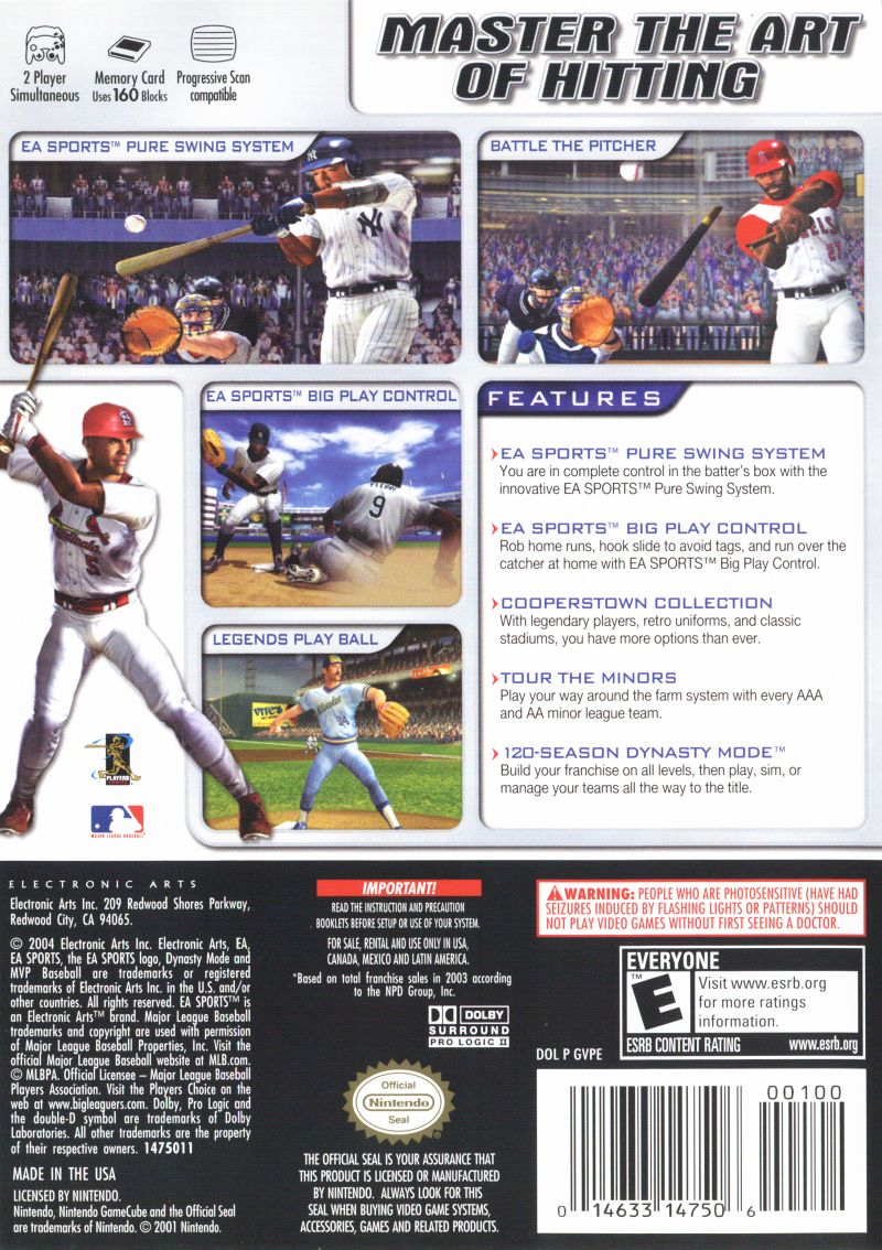 MVP Baseball 2004 GameCube Back Cover