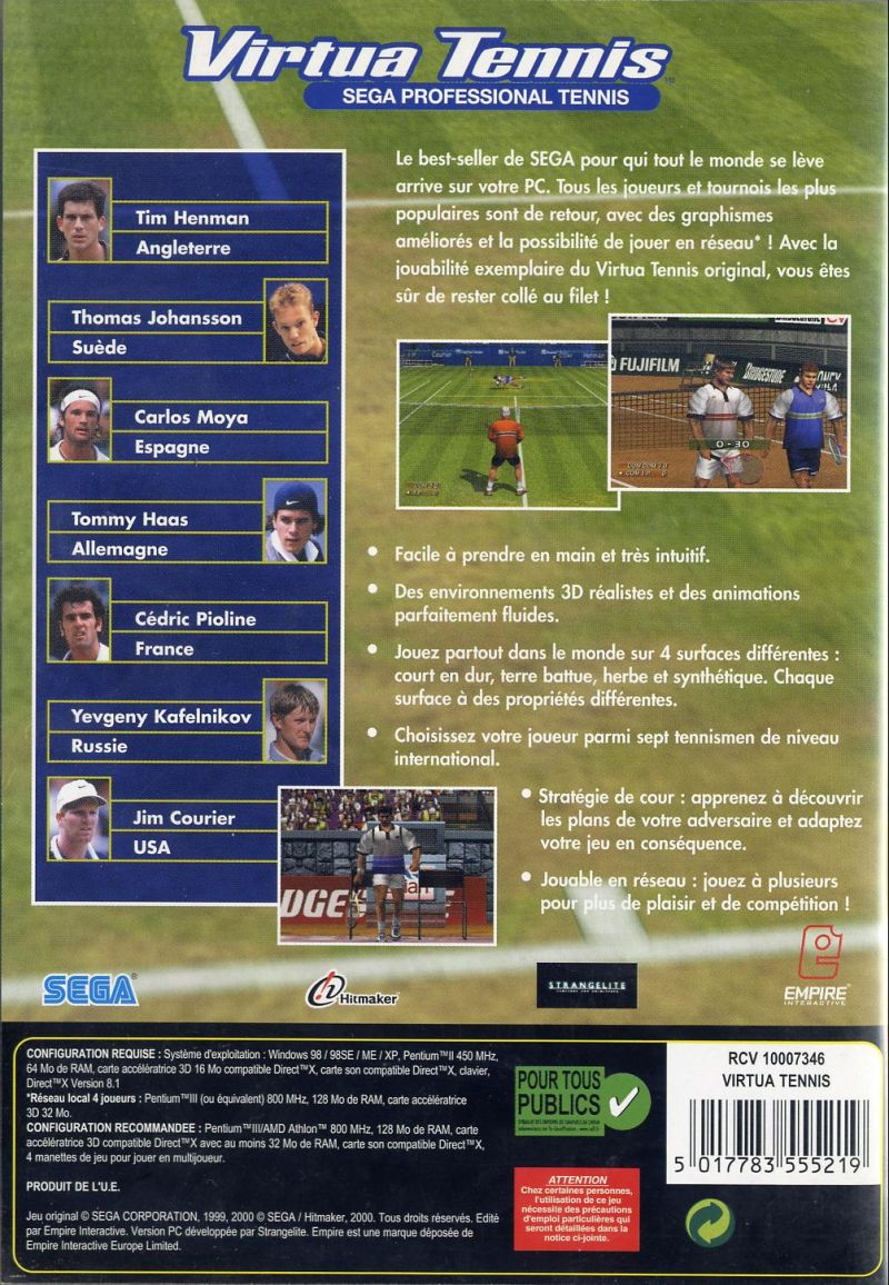 Virtua Tennis Windows Back Cover