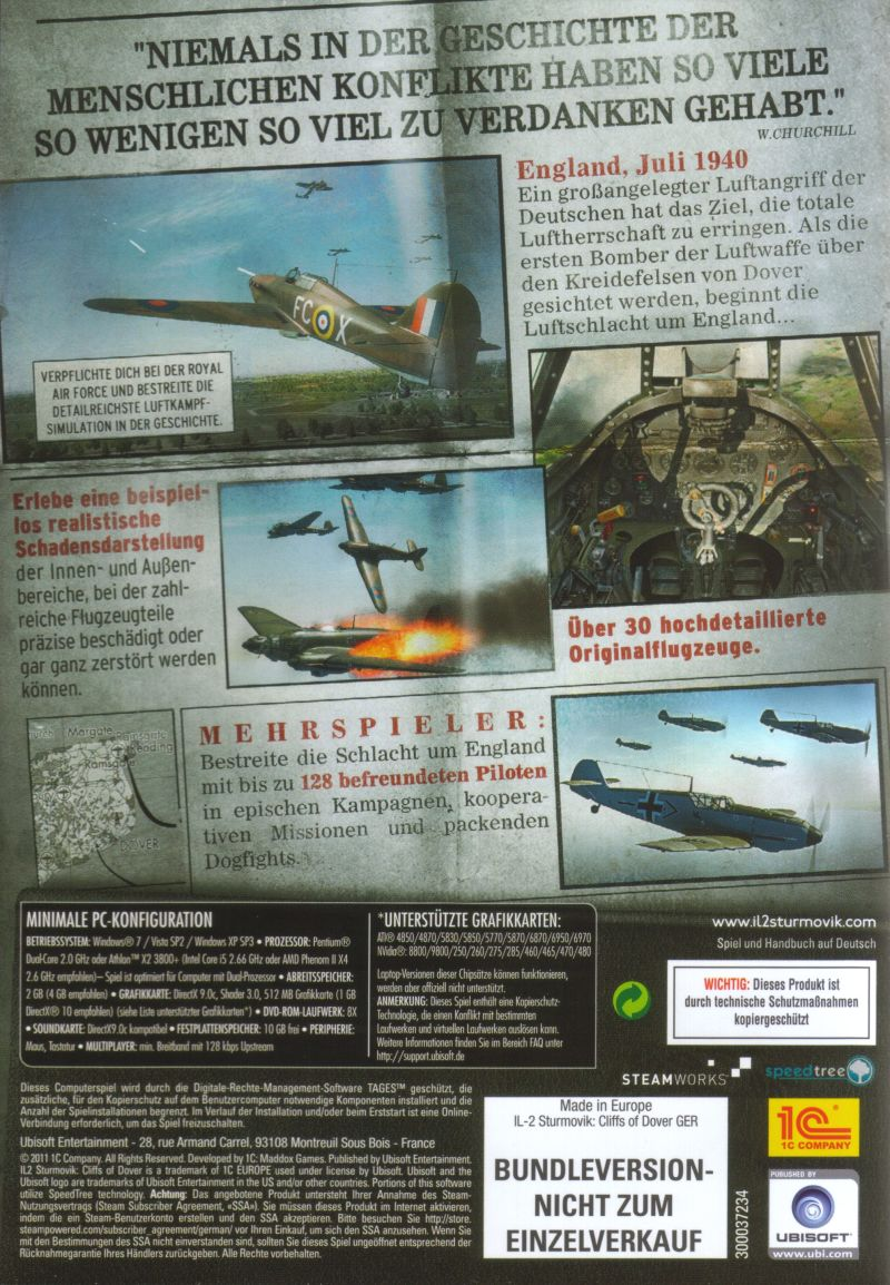 IL-2 Sturmovik: Cliffs of Dover (Collector's Edition) Windows Other Keep Case - Back