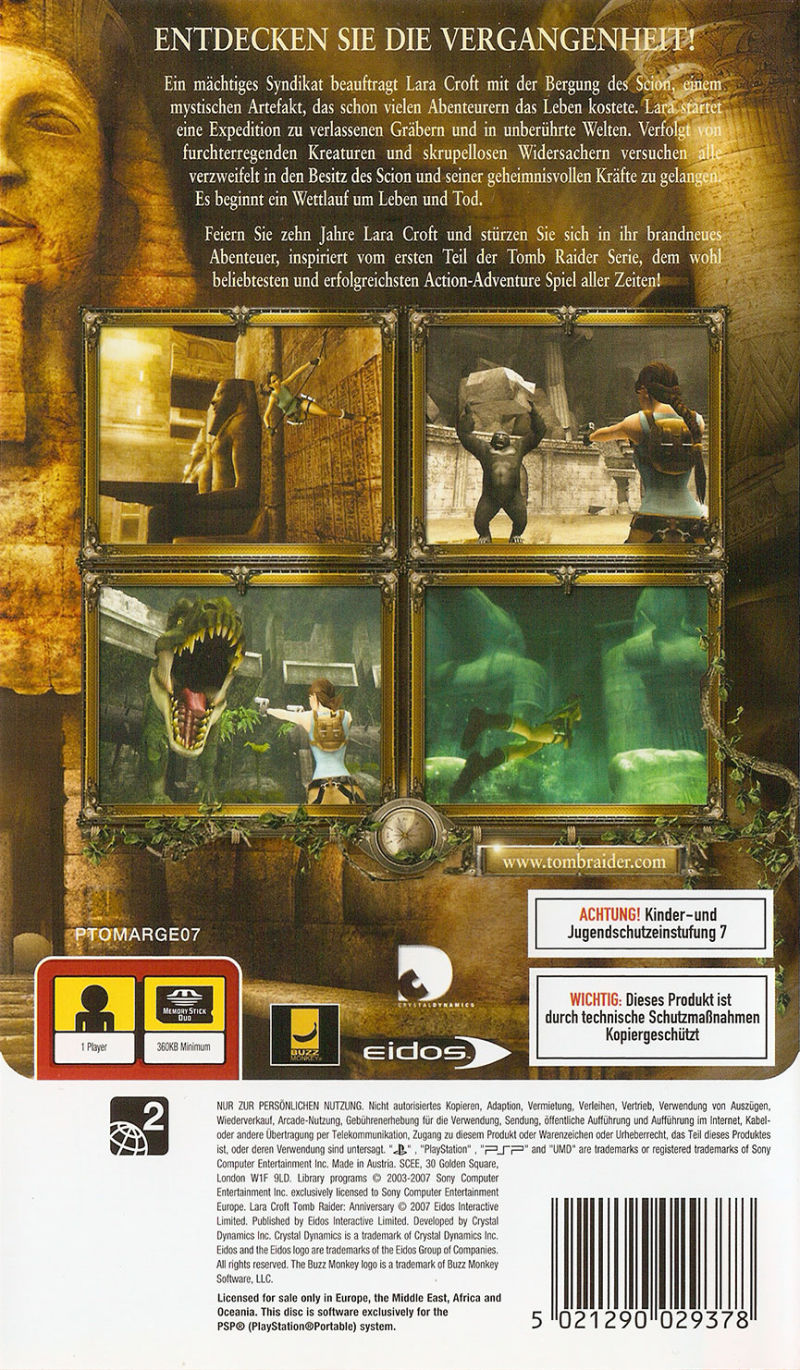 Lara Croft: Tomb Raider - Anniversary PSP Back Cover