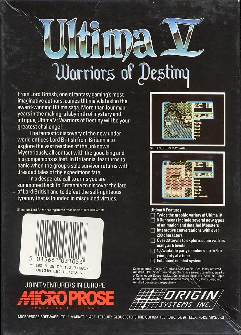 Ultima V: Warriors of Destiny Commodore 64 Back Cover