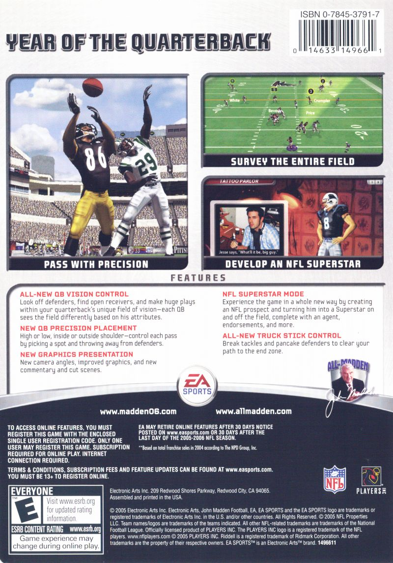 Madden NFL 06 Windows Back Cover