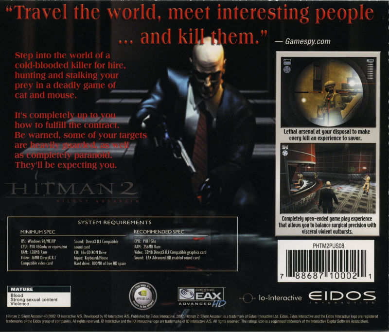 Hitman 2: Silent Assassin Windows Other Jewel Case - Back