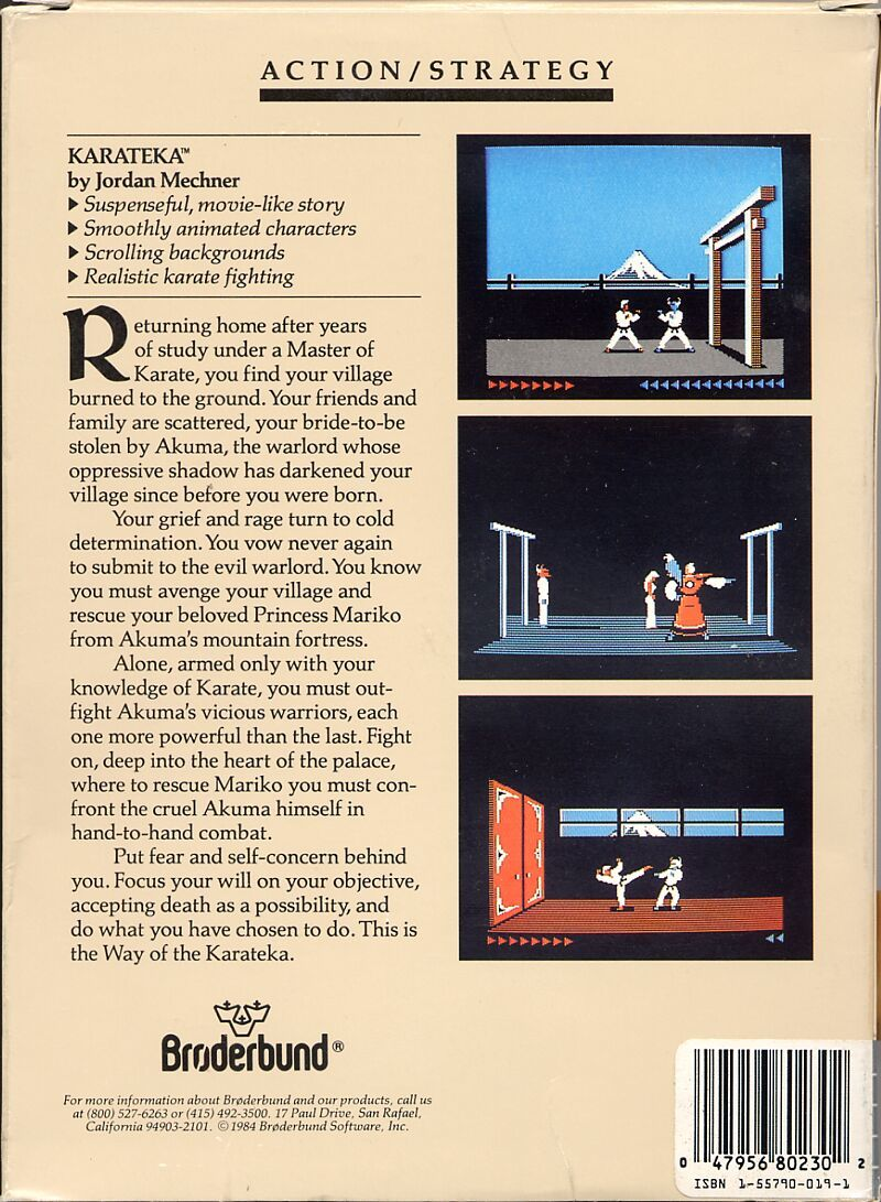 Karateka Atari 8-bit Back Cover