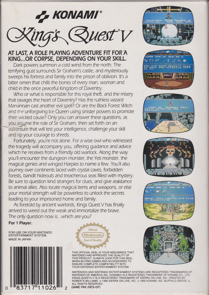 King's Quest V: Absence Makes the Heart Go Yonder NES Back Cover