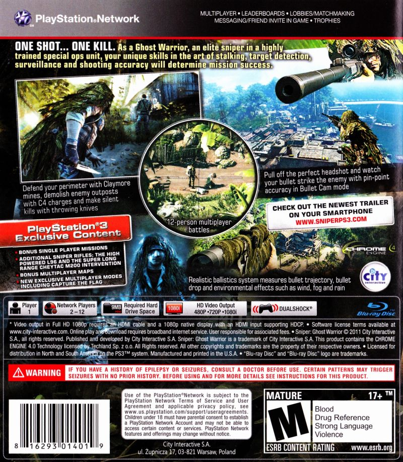 Sniper Ghost Warrior 2011 Playstation 3 Box Cover Art