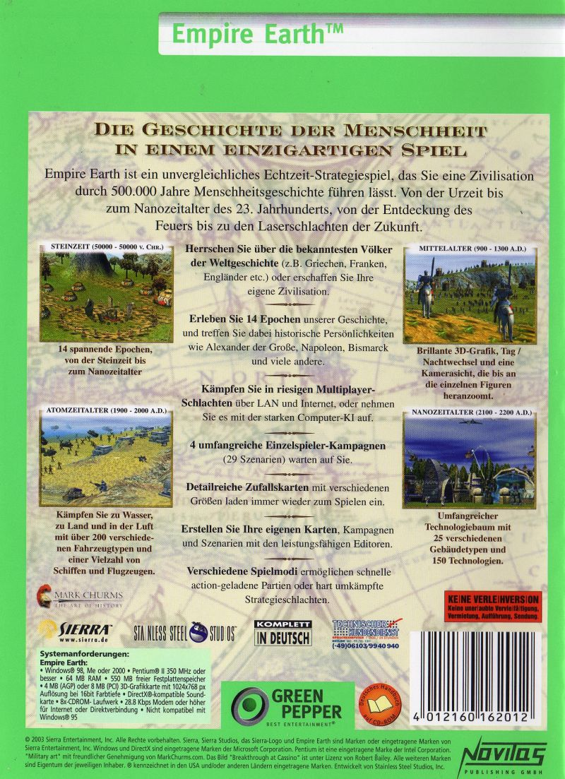 Empire Earth Windows Back Cover