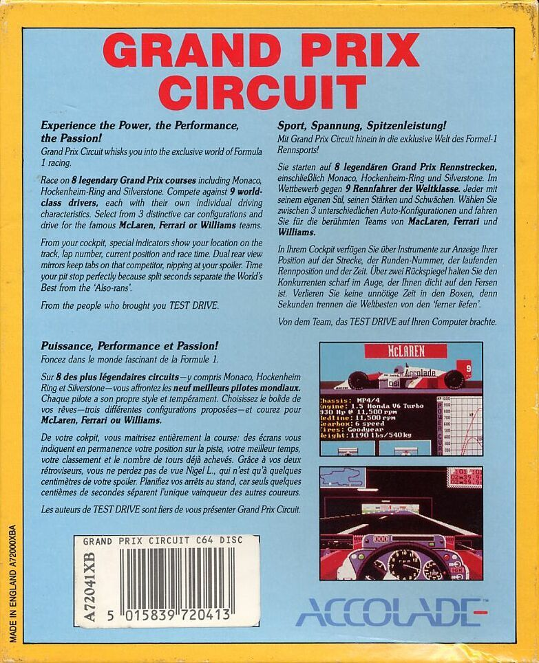 Grand Prix Circuit Commodore 64 Back Cover