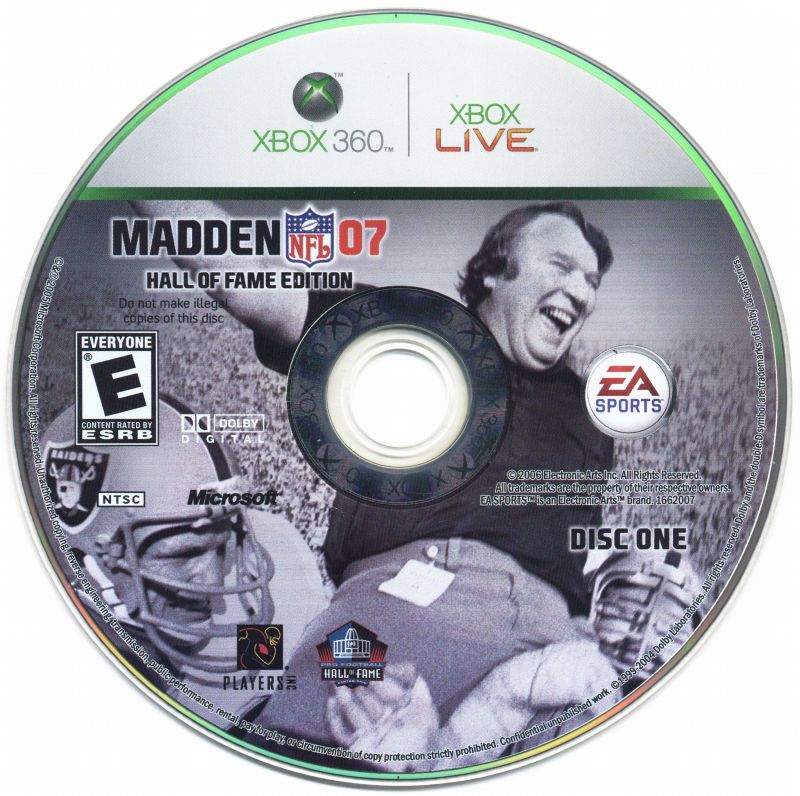 Madden NFL 07 (Hall of Fame Edition) Xbox 360 Media Game disc