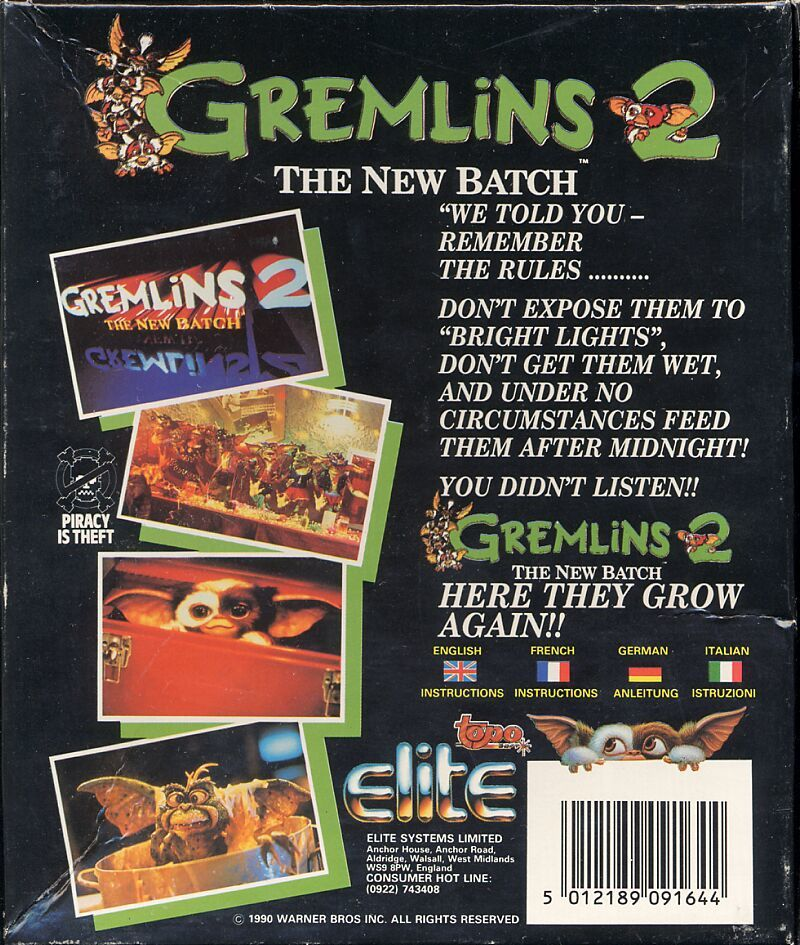 Gremlins 2: The New Batch Commodore 64 Back Cover