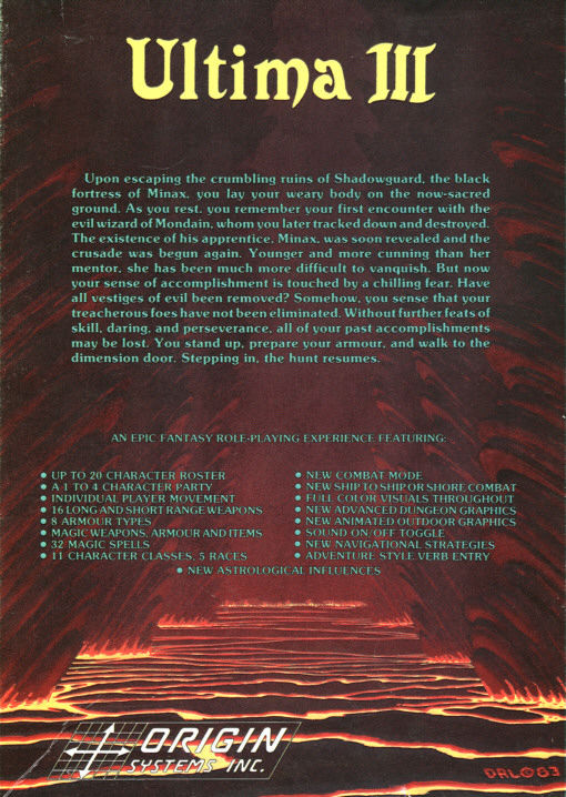Exodus: Ultima III DOS Back Cover