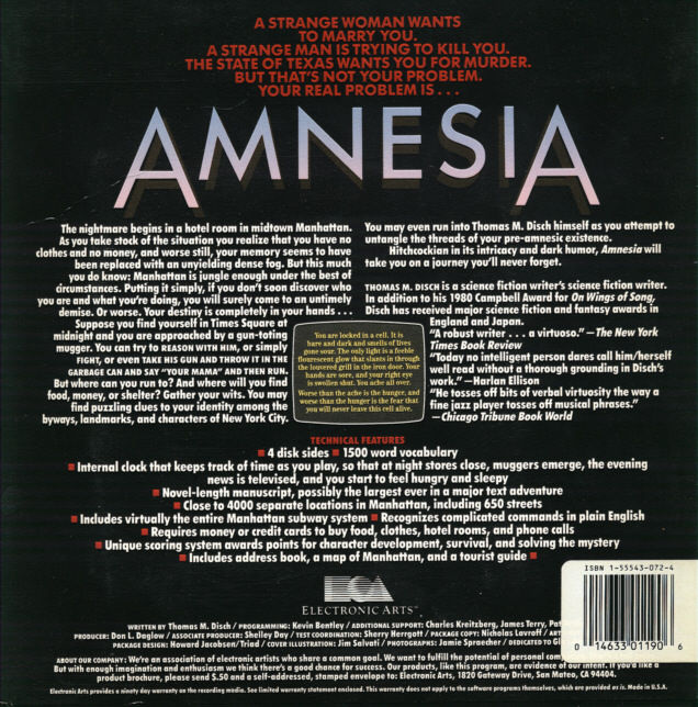 Amnesia PC Booter Back Cover