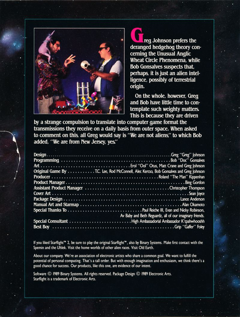 Starflight 2: Trade Routes of the Cloud Nebula DOS Inside Cover