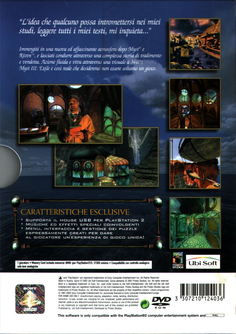 Myst III: Exile PlayStation 2 Back Cover