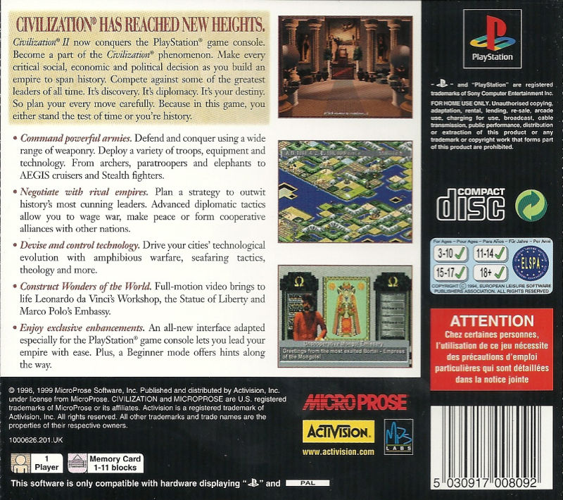 Sid Meier's Civilization II PlayStation Back Cover