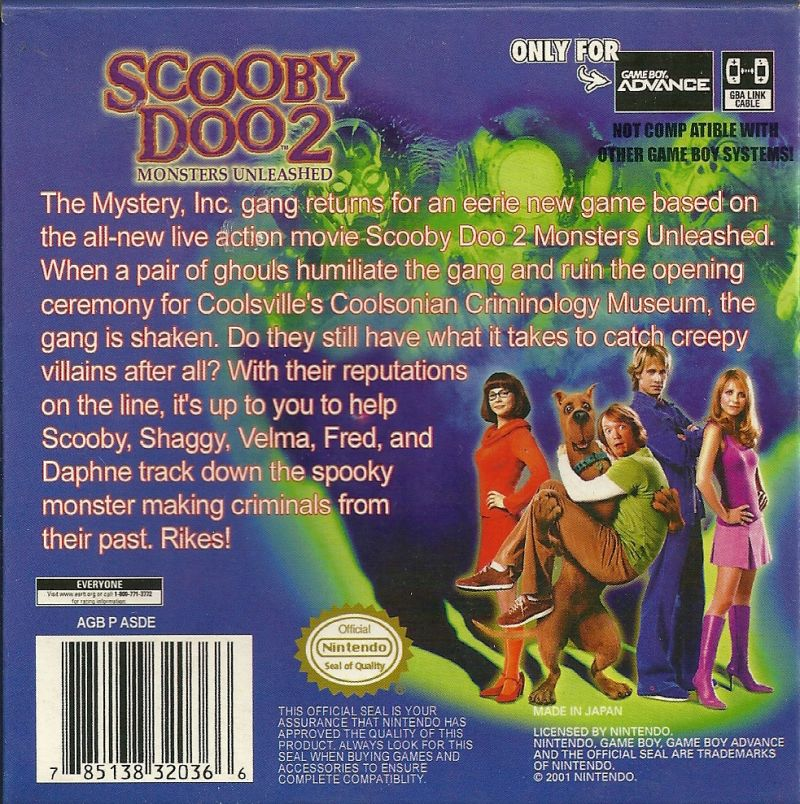Scooby Doo 2 Monsters Unleashed 2004 Game Boy Advance Box Cover Art Mobygames