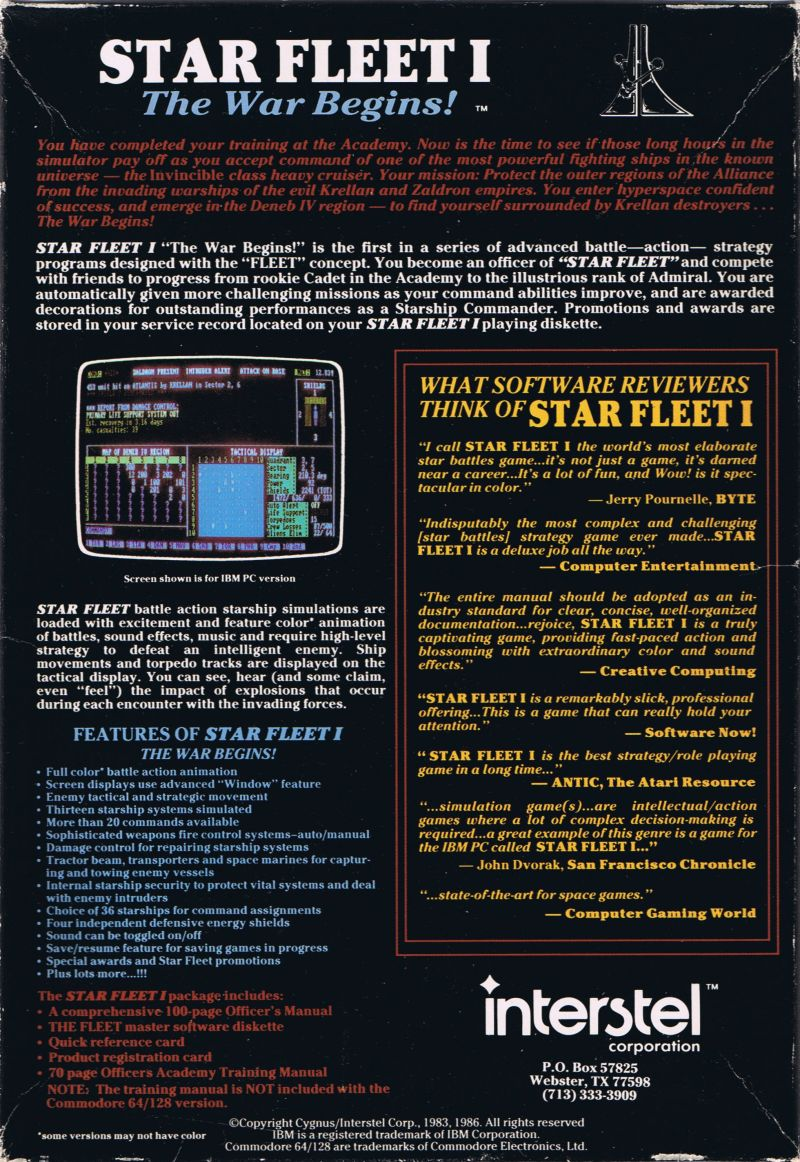 Star Fleet I: The War Begins! Commodore 64 Back Cover