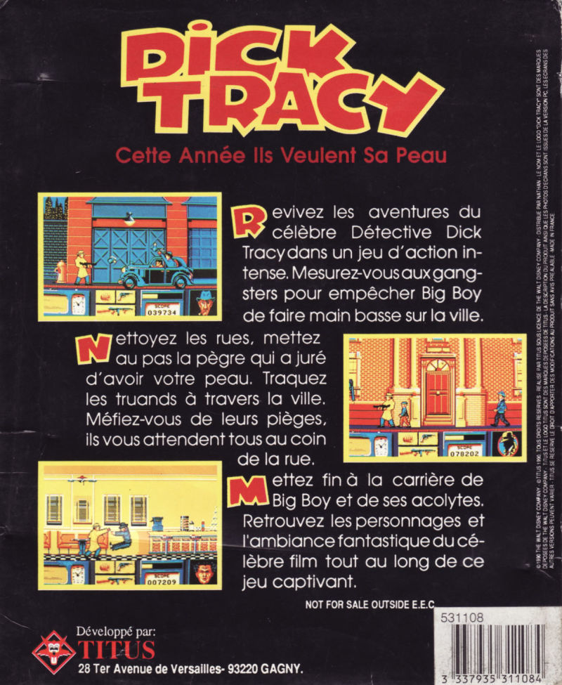 Dick Tracy DOS Back Cover