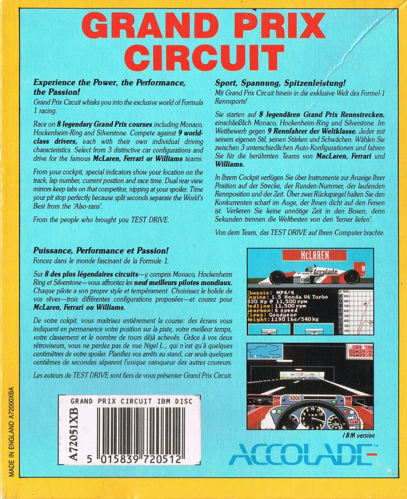 Grand Prix Circuit DOS Back Cover
