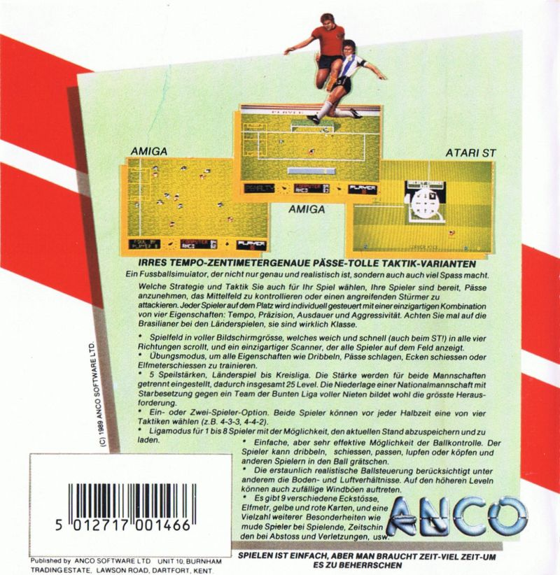 Kick Off Commodore 64 Back Cover