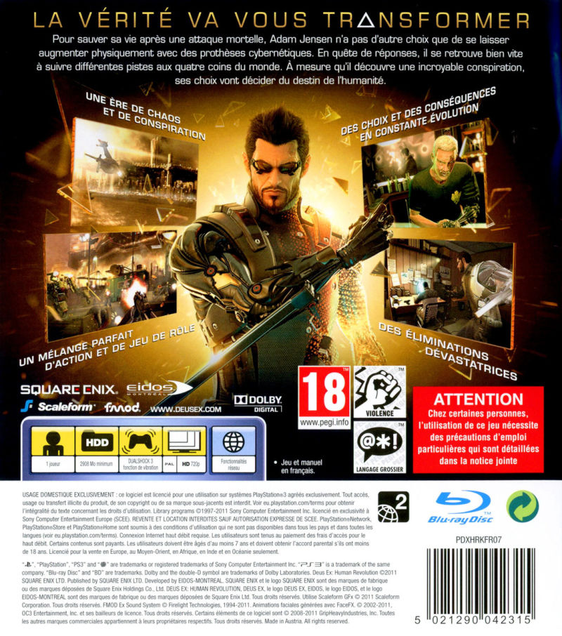 Deus Ex: Human Revolution PlayStation 3 Back Cover