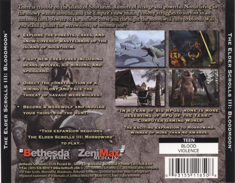 The Elder Scrolls III: Bloodmoon (2003) Windows box cover
