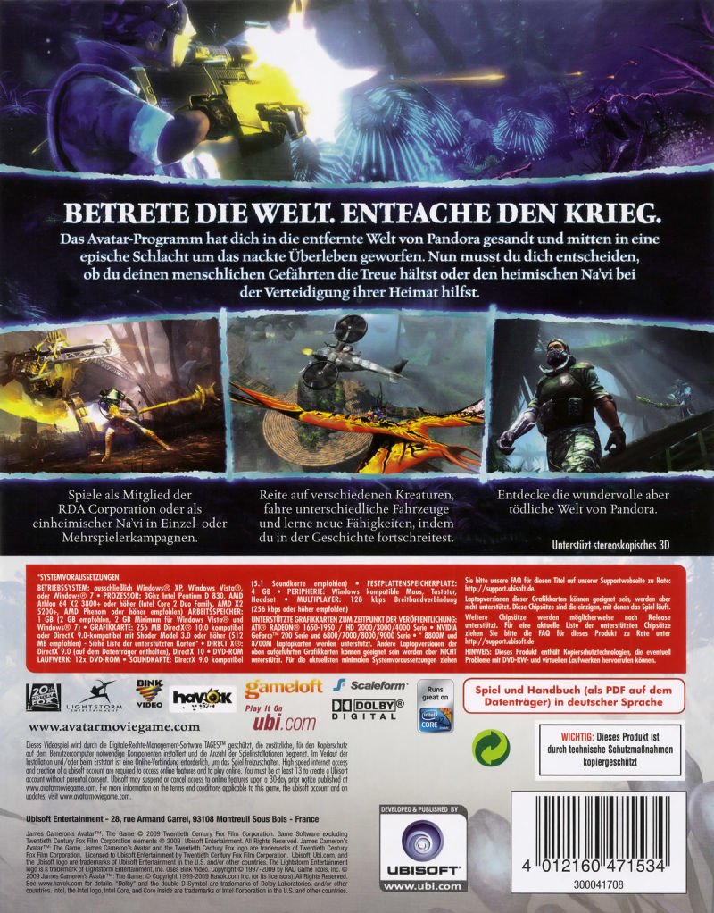 James Cameron's Avatar: The Game Windows Back Cover