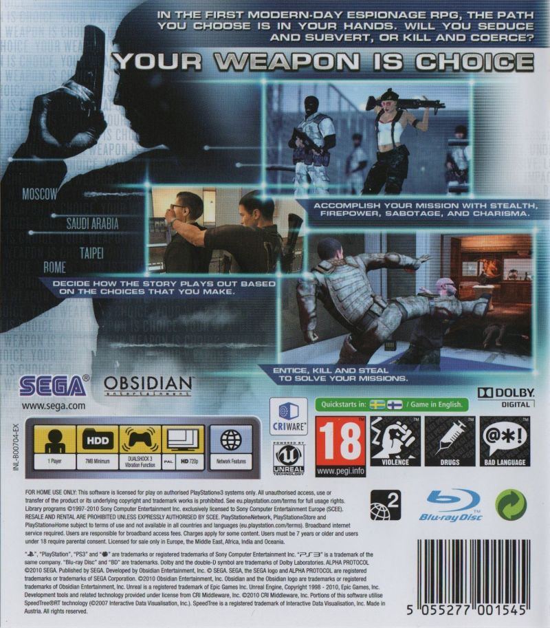 Alpha Protocol PlayStation 3 Back Cover