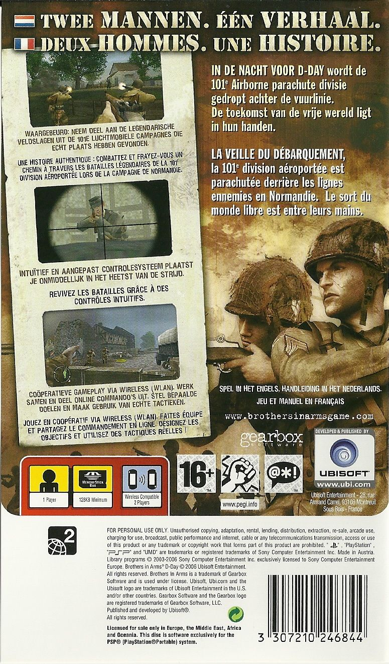 Brothers in Arms: D-Day PSP Back Cover