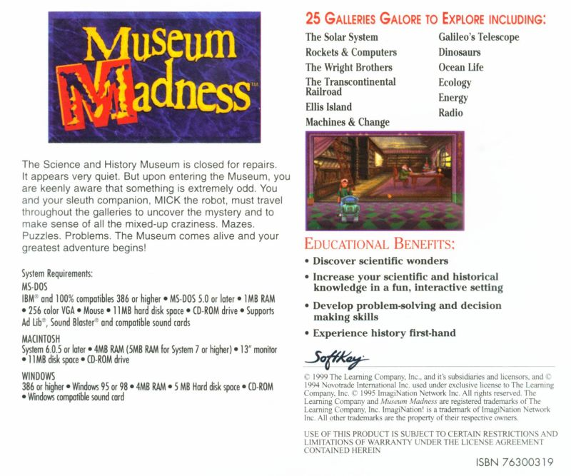 Museum Madness DOS Other Jewel Case - Back