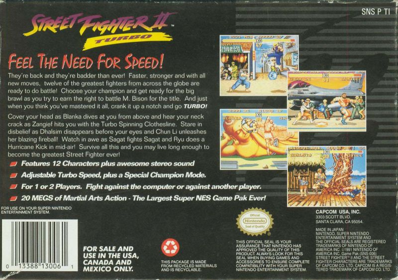 Street Fighter Ii Turbo 1993 Snes Box Cover Art Mobygames