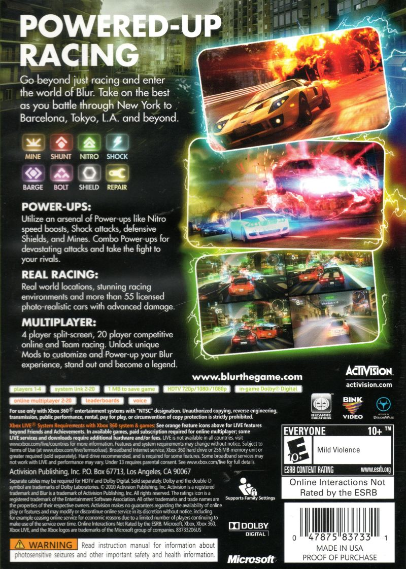 Blur Xbox 360 Back Cover