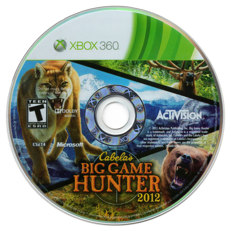 Cabela's Big Game Hunter 2012 (With Top Shot Elite) Xbox 360 Media