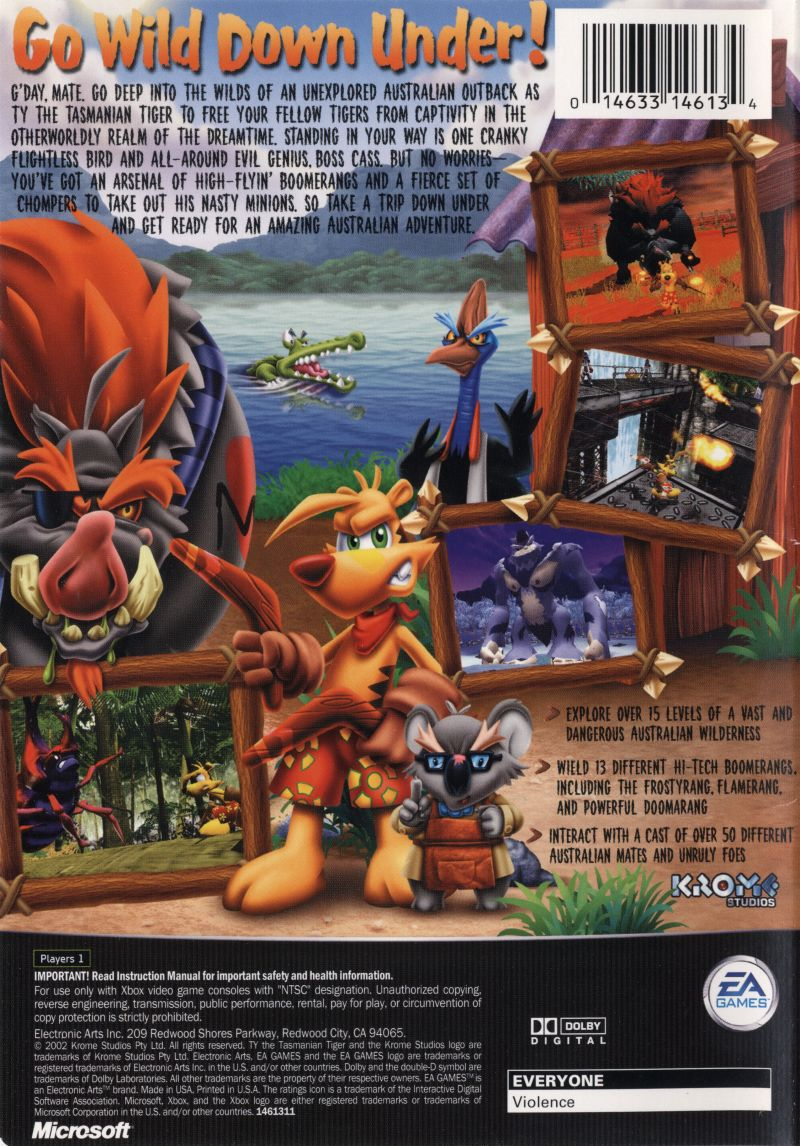 Ty the Tasmanian Tiger Xbox Back Cover